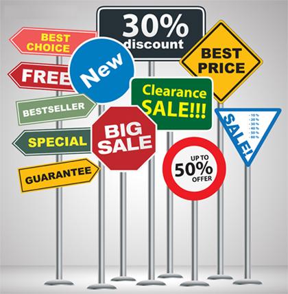 Panneaux publicitaires et de promotions. (Shutterstock)