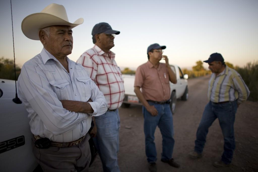 أربعة أشخاص واقفين في حقل