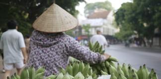 یک زن ویتنامی که کنار جاده موز می فروشد (عکس از آسوشیتدپرس)