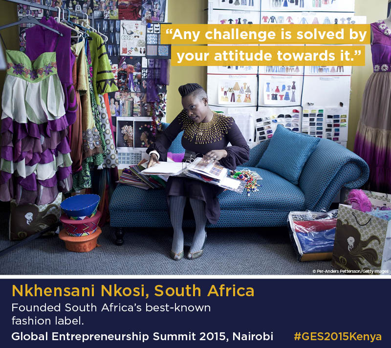 Infographic with photo of Nkhensani Nkosi speaking on the phone in her fashion studio (Photo © Per-Anders Pettersson/Getty Images/Infographic, State Dept.)