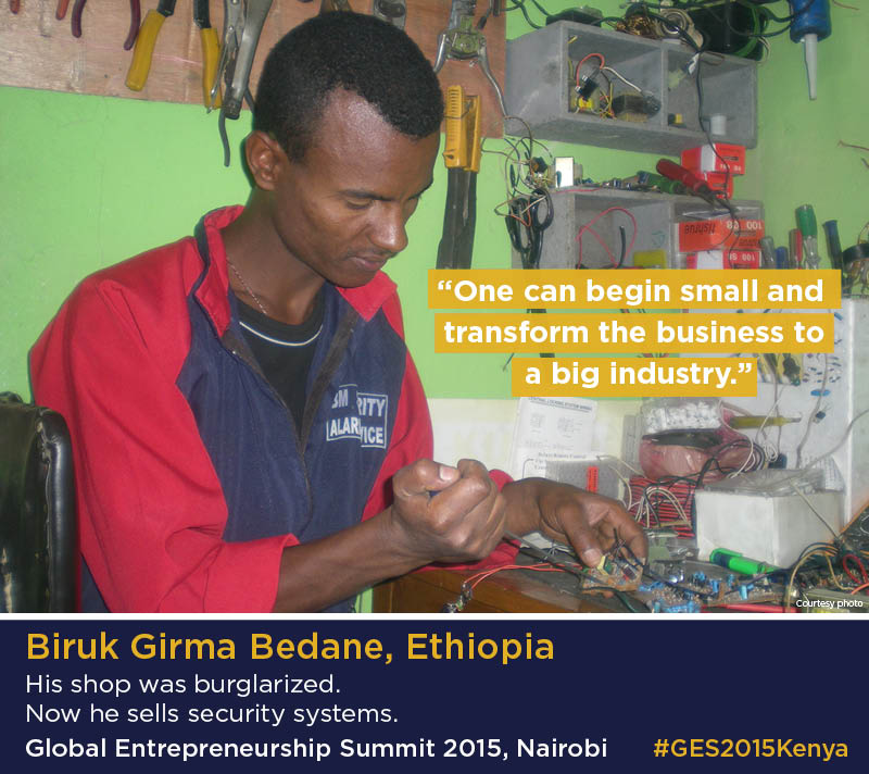 Infographic with photo of Biruk Girma Bedane in his workshop (Photo courtesy of Biruk Girma Bedane/Infographic, State Dept.)