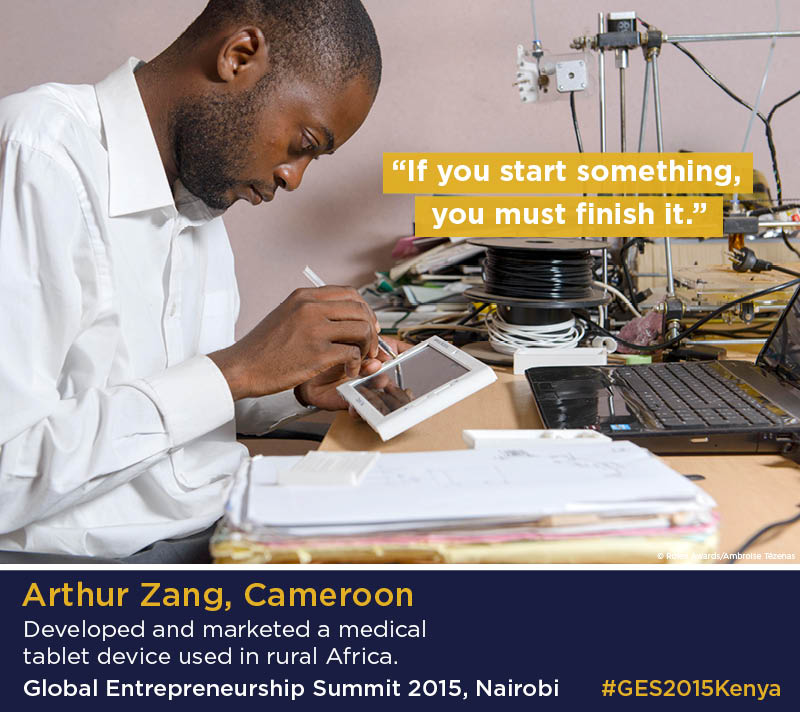 Infographic with photo of Arthur Zang working on electronic device (Photo © Rolex Awards, Ambroise Tézenas/Infographic, State Dept.)