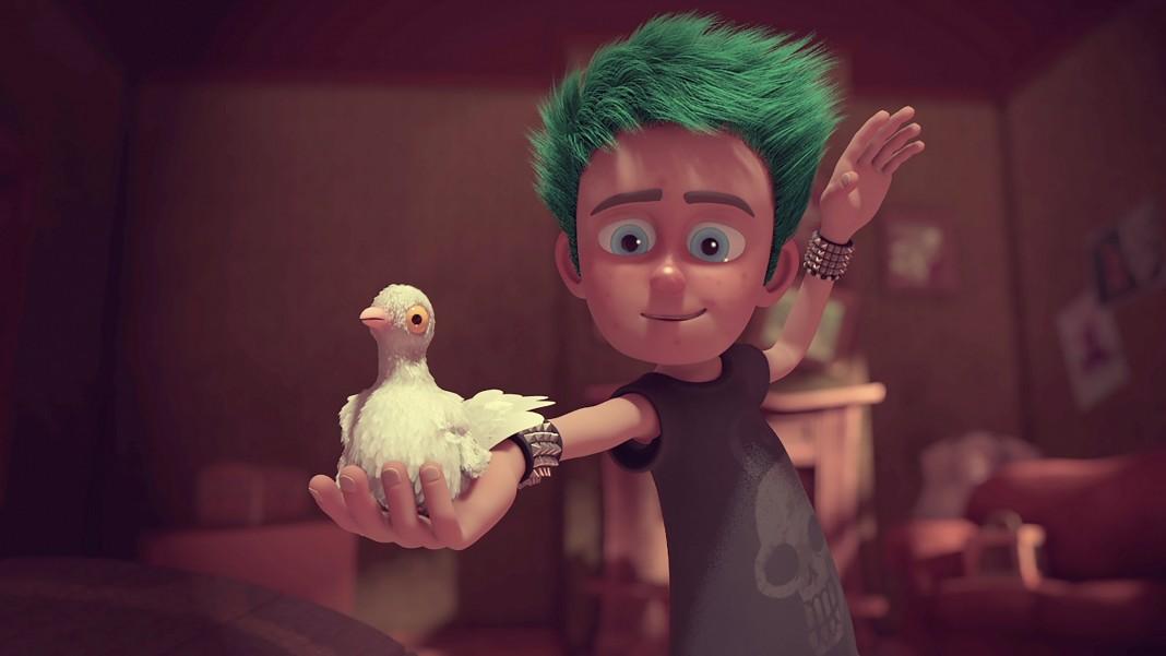 Imagen animada de un niño sosteniendo un ave (Foto cedida por Anne Yang)