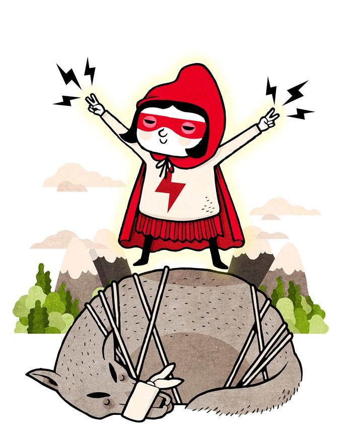 Dessin d'un tout-puissant petit chaperon rouge, campé sur un loup à terre. (David Ibanez Bordallo)