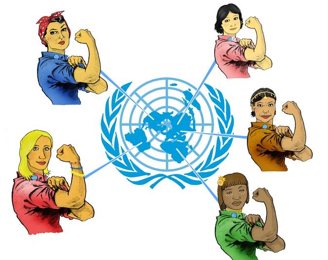 Dessin représentant des femmes de différentes nationalités gonflant un biceps à l'instar de Rosie la riveteuse, la célèbre icône américaine. (Aleksi Siirtola)