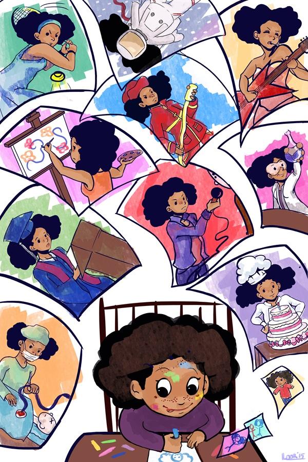 Dessin représentant une petite fille dessinant les différentes possibilités que l'avenir lui réserve. (Laurence Herfs)