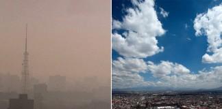 Photo du ciel de Mexico lorsque l'air est fortement pollué juxtaposée à la même photo avec un ciel clair (© AP Images)