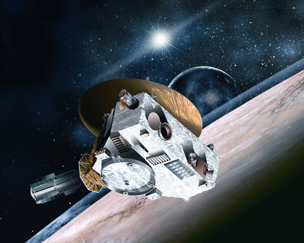 Visión de un artista de nave espacial sobre un planeta (NASA)