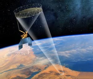 نقاشی یک ماهواره بر فراز سیاره زمین. (ناسا)