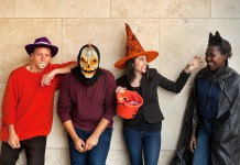 Students dressed in costumes for Halloween (State Dept./D.A. Peterson)