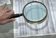 Drawing of hand holding magnifying glass over spreadsheet (State Dept./Doug Thompson)
