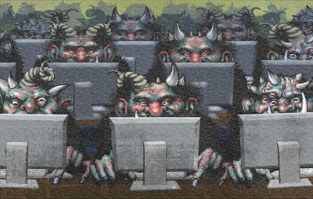 نقاشی از ترول های فانتزی نشسته پشت کامپیوتر (وزارت امور خارجه / داگ تامپسون)