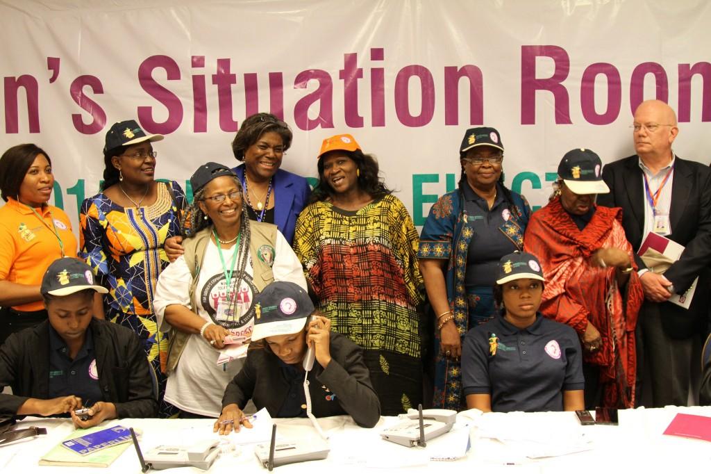 شرکت کنندگان در اتاق گزارش وضعیت زنان طی انتخابات مارس ٢۰۱۵ در نیجریه. (عکس اهدایی)