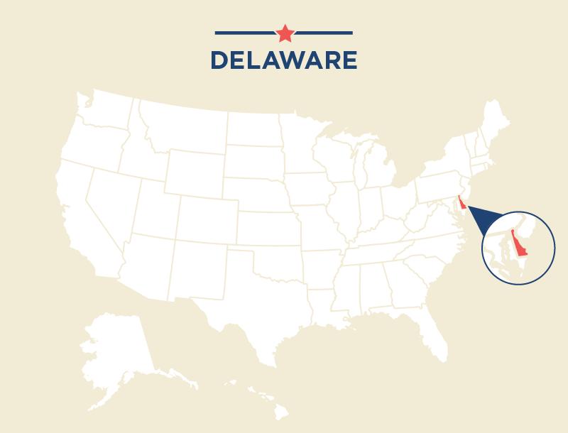 Carte des États-Unis avec le Delaware colorié en rouge. (Département d'État)