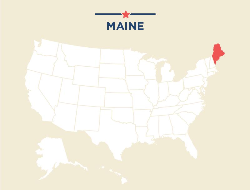 Carte des États-Unis avec le Maine colorié en rouge (Département d'État)