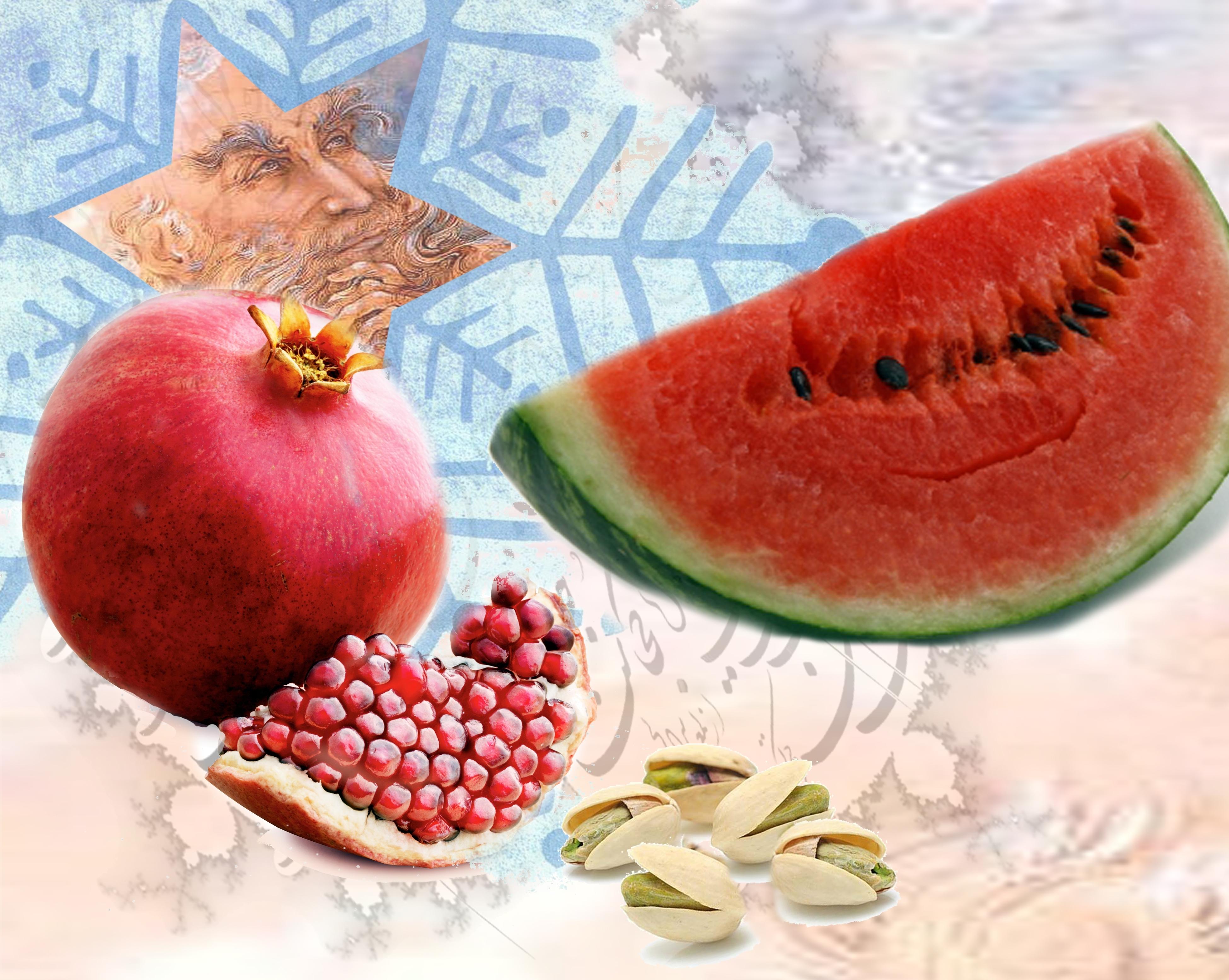 طرحی از هندوانه، انار، پسته، و حافظ (وزارت امور خارجه)