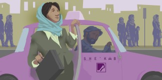 Drawing of woman exiting taxicab, pedestrians in background (State Dept./Doug Thompson)
