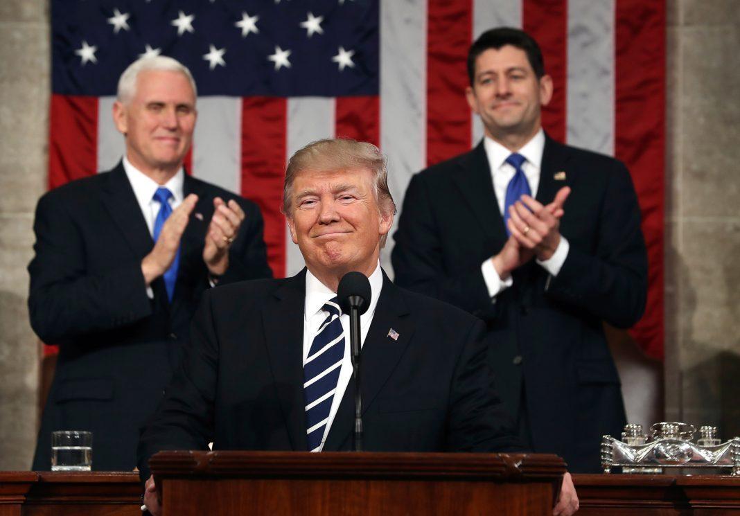 سخنرانی سالانه پرزیدنت ترامپ در برابر کنگره ایالات متحده آمریکا. (عکس از آسوشیتدرس)