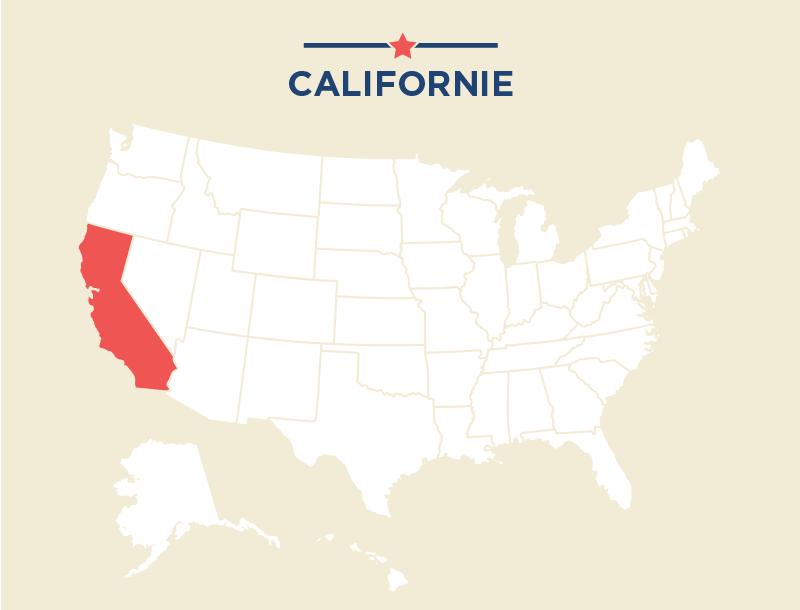 Carte des États-Unis avec la Californie coloriée en rouge (Département d'État)
