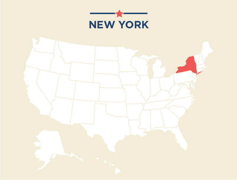 Map of United States highlighting New York (State Dept./ J. McCann)