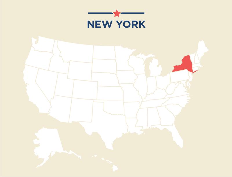 Carte des États-Unis avec l'État de New York colorié en rouge (Département d'État)