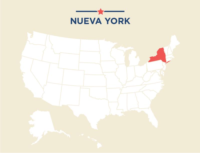 Mapa de Estados Unidos que destaca Nueva York (Depto. de Estado)