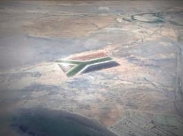 ماکتی از پرچم عظیم آفریقای جنوبی که از فضا دیده می شود. (Courtesy of Threefold Creative)