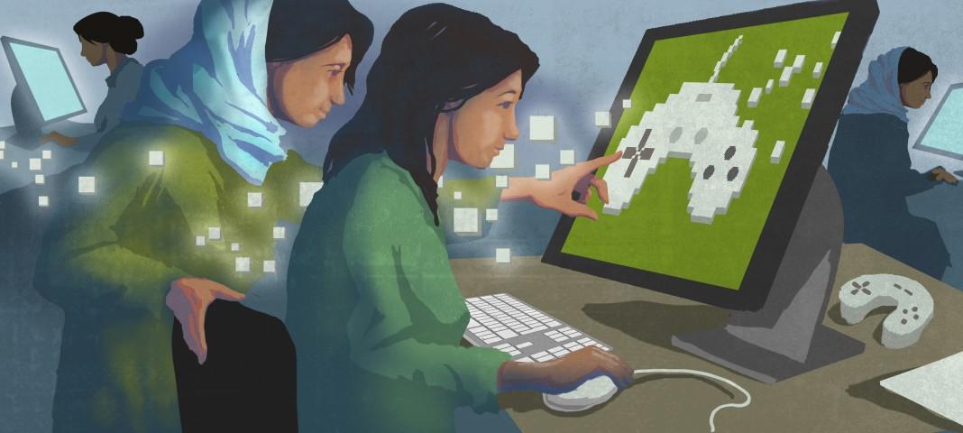 Illustration représentant deux femmes devant un clavier et un écran d'ordinateur, des pixels flottant vers l'écran (Département d'État/Doug Thompson)
