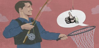 Ilustración de un hombre pescando un globo de diálogo gracioso que contiene el símbolo del pulgar hacia arriba (Depto. de Estado/Doug Thompson)