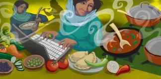 تصویر یک زن که میان مواد غذایی روی لَپ تاپش کار می کند (وزارت امور خارجه/ داگ تامپسون)