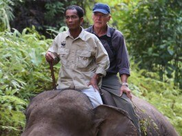 """Harrison Ford sitting atop an elephant with a guide (Courtesy of """"Years of Living Dangerously"""")"""