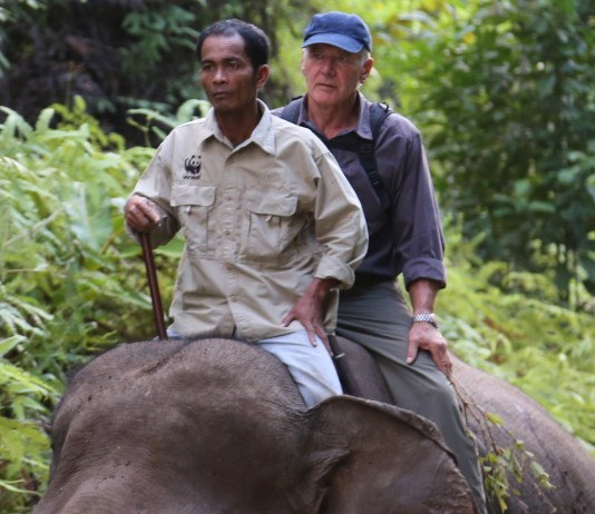 "Harrison Ford sitting atop an elephant with a guide (Courtesy of ""Years of Living Dangerously"")"