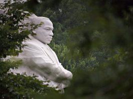 Martin Luther King, Jr. Memorial viewed through trees (© AP Images)