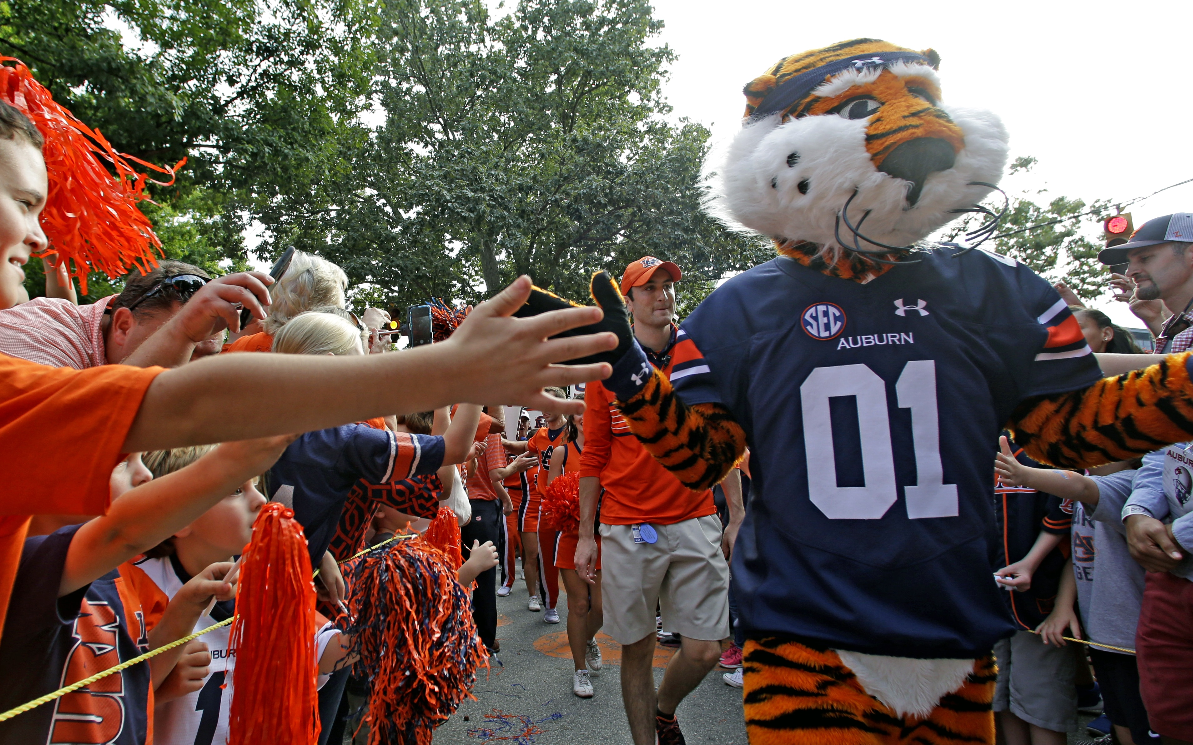 Une mascotte-tigre défilant parmi des supporters, les saluant au passage (© AP Images)