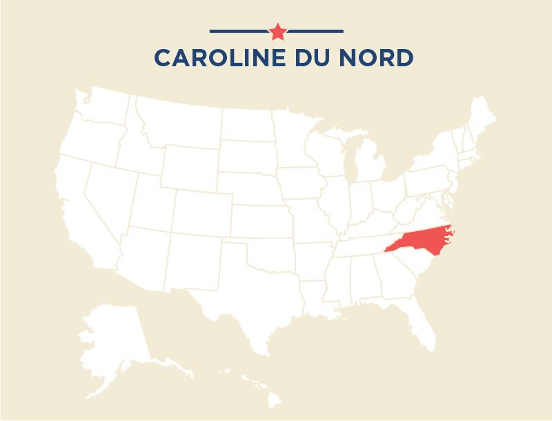 Carte des États-Unis avec la Caroline du Nord coloriée en rouge (Département d'État)