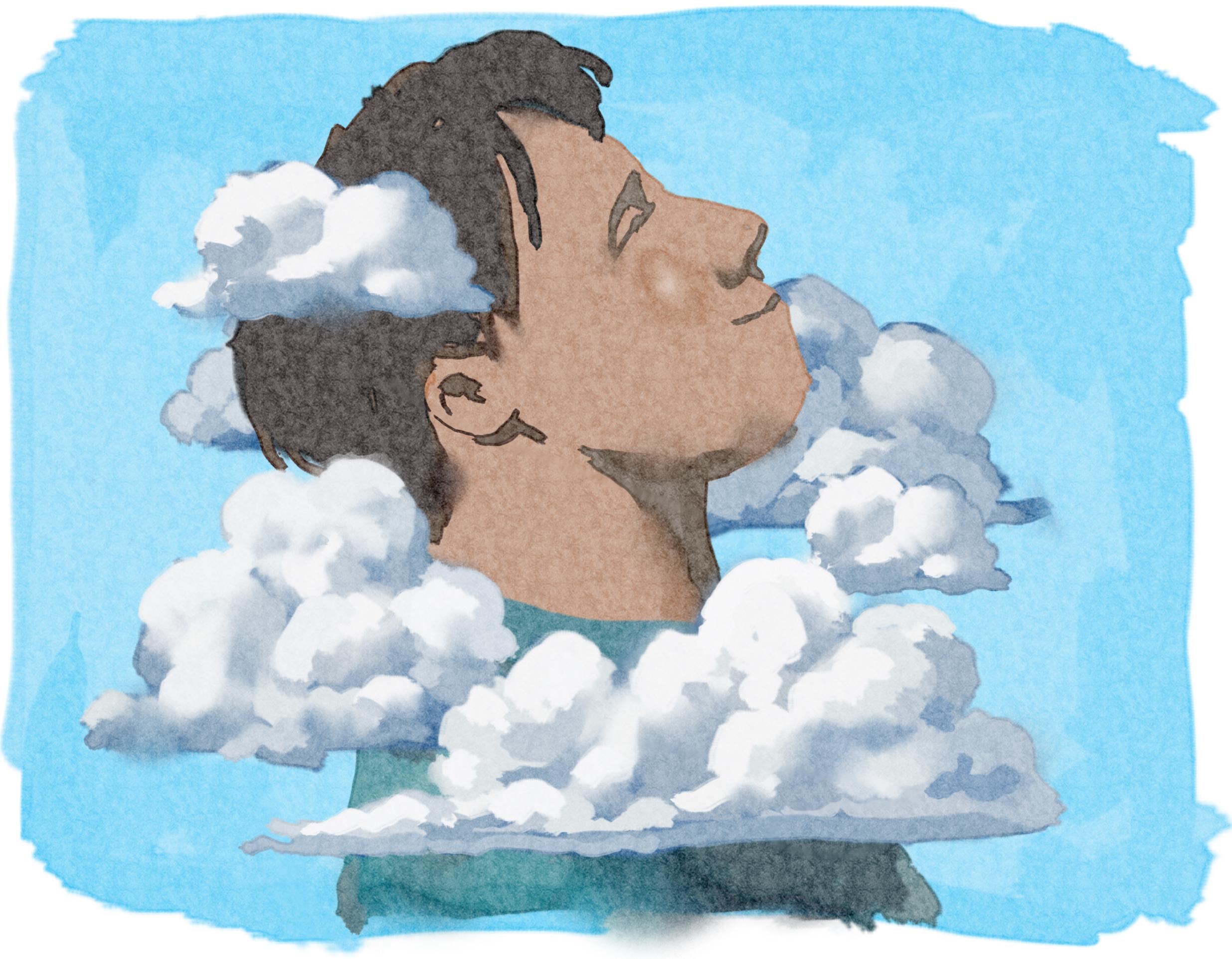 Dessin d'un jeune homme souriant, avec la tête dans les nuages (Département d'État/Doug Thompson)