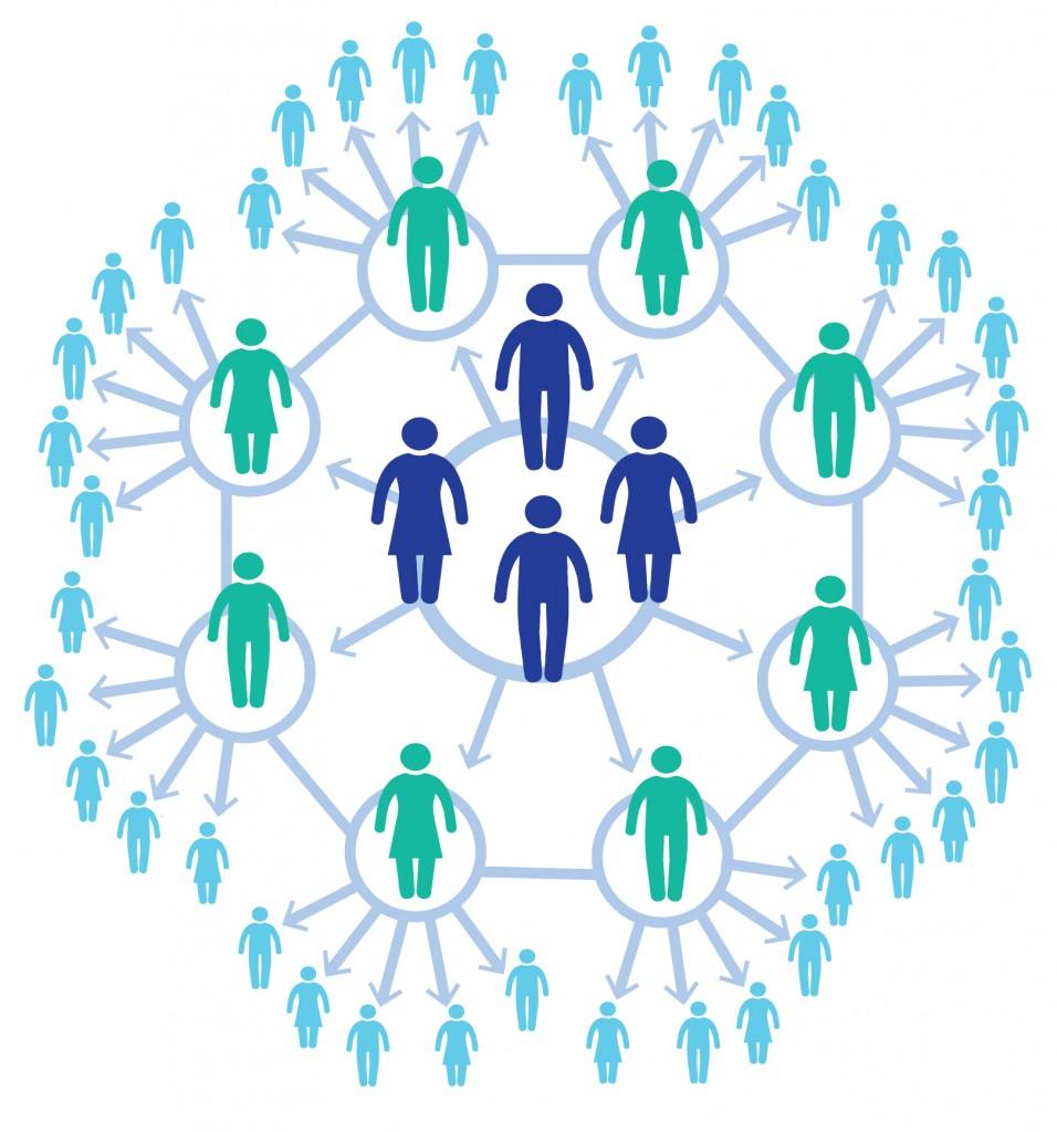 Représentation de la forme d'un flocon de neige, avec des cercles et des personnes à l'intérieur (Département d'État/Doug Thompson)