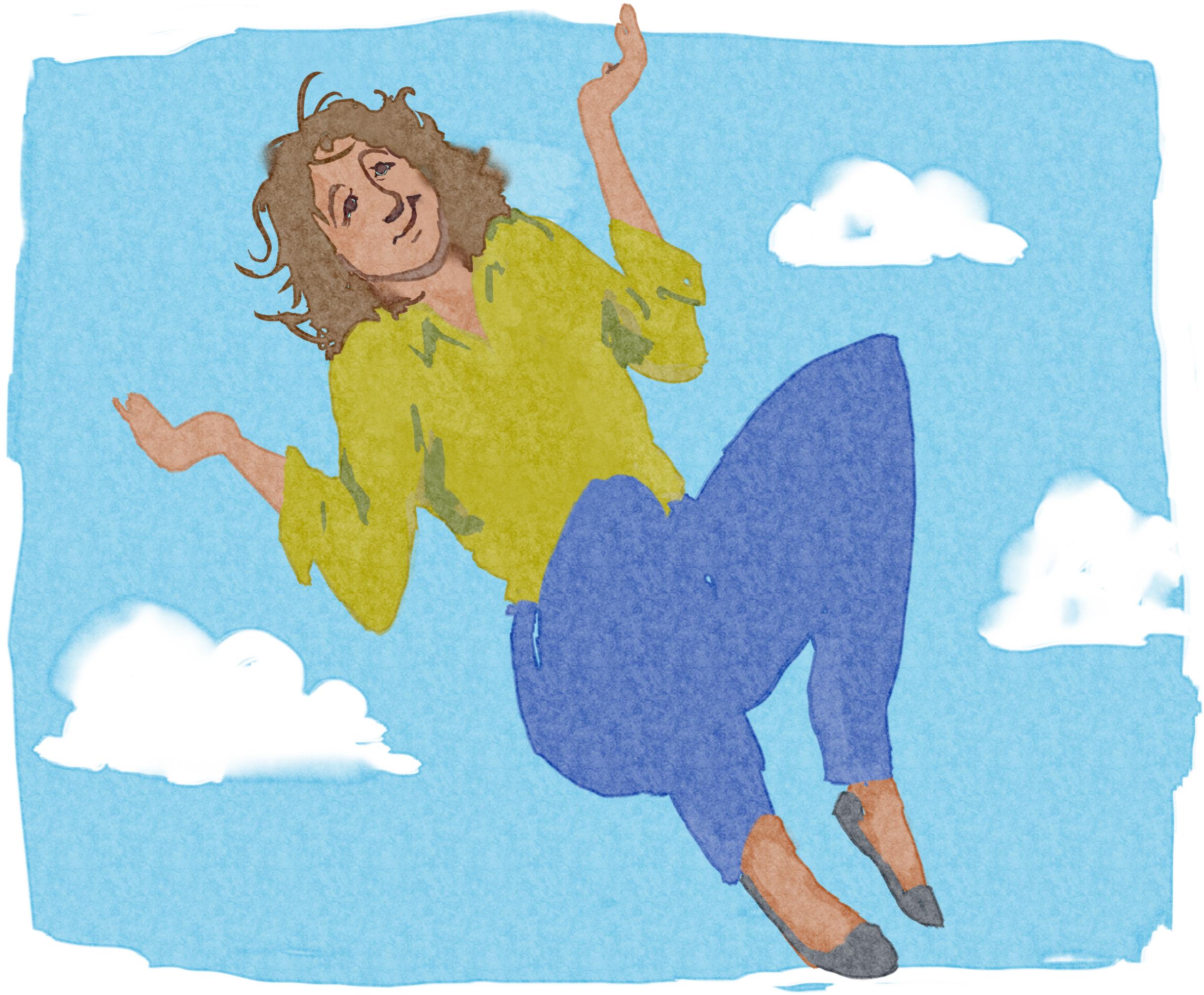Dessin d'une femme flottant parmi les nuages, haussant les épaules (Département d'État/Doug Thompson)
