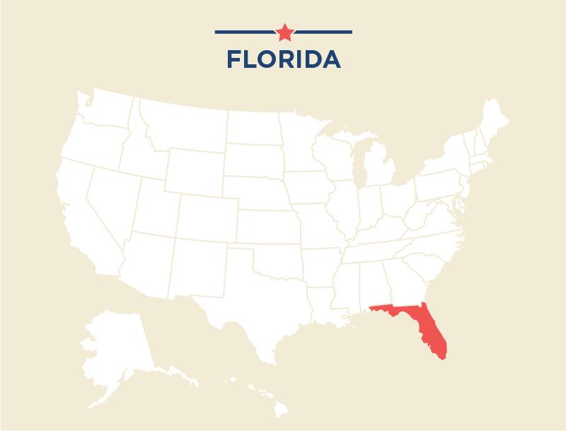 Mapa de Estados Unidos con Florida remarcada (Depto. de Estado/J. McCann)