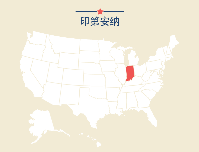 U.S. map with Indiana highlighted in red (State Dept.)