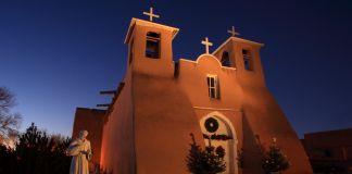 Adobe church seen at dusk (Shutterstock)
