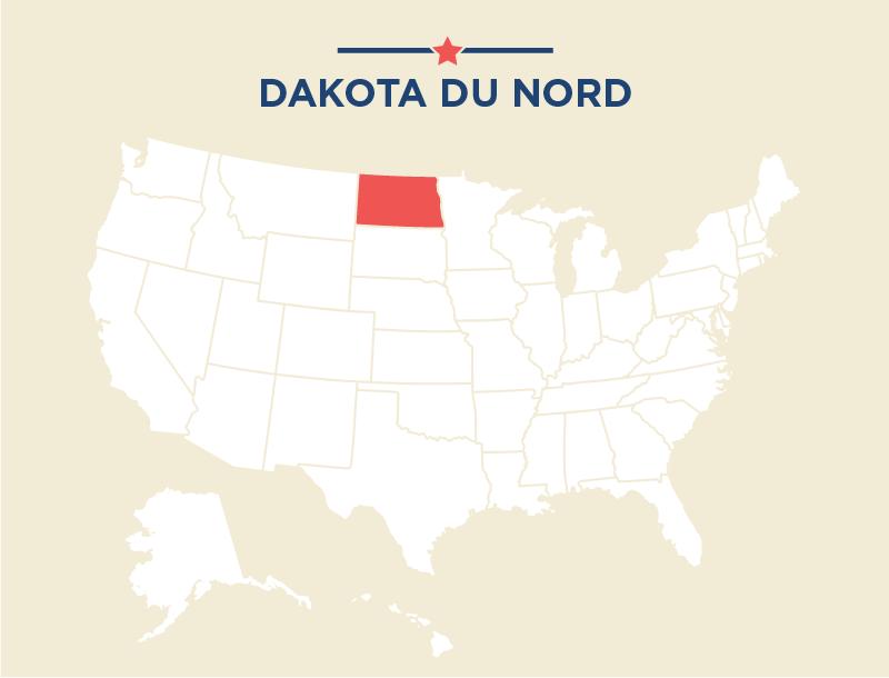 Carte des États-Unis avec le Dakota du Nord colorié en rouge (Département d'État)