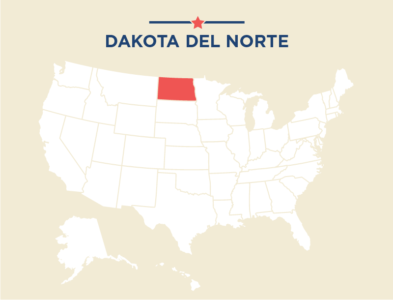 El mapa de Estados Unidos con Dakota del Norte destacado (Depto. de Estado)