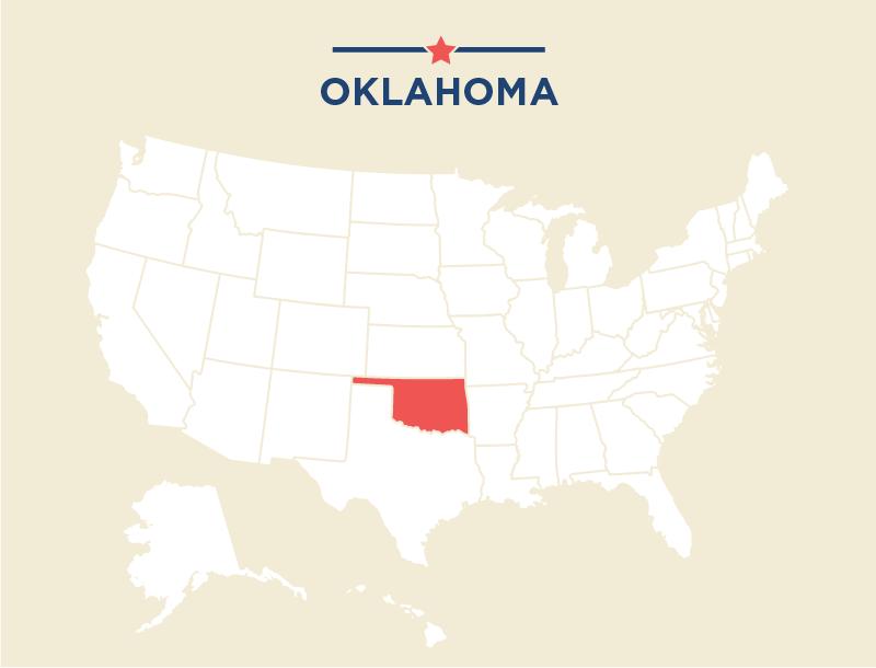 Mapa de Estados Unidos con Oklahoma destacado (Depto. de Estado/J. McCann)