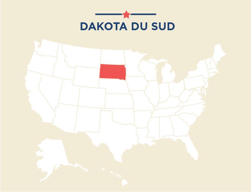 Carte des États-Unis, avec le Dakota du Sud colorié en rouge (Département d'État)