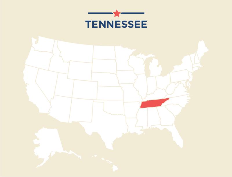 Mapa de Estados Unidos destacando a Tennessee (Depto. de Estado)