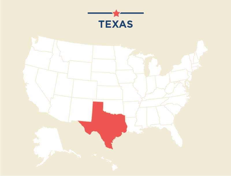 Map of U.S. highlighting Texas in red (State Dept.)