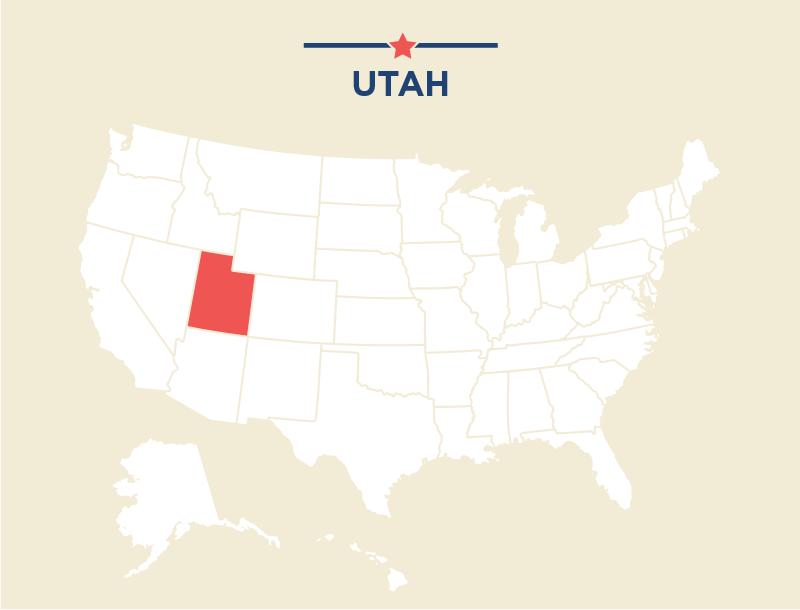 Mapa de Estados Unidos en el que se destaca Utah (Departamento de Estado)