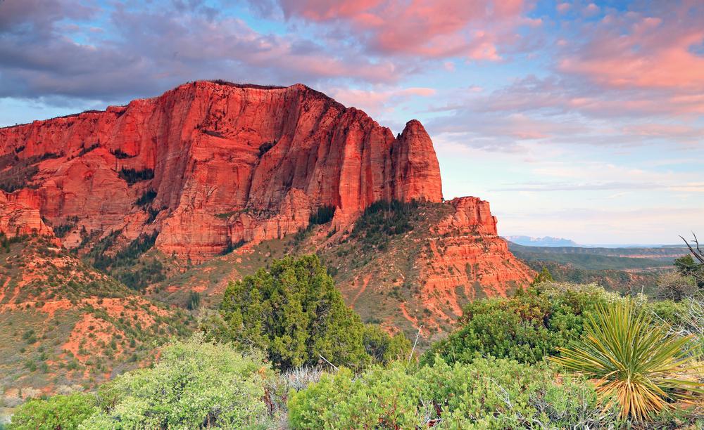 Vista panorámica de una montaña roja y de la vegetación verde (Shutterstock)