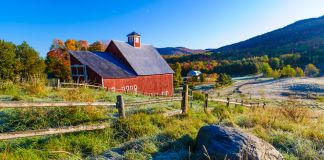 Large red barn set against a backdrop of fall foliage (Shutterstock)